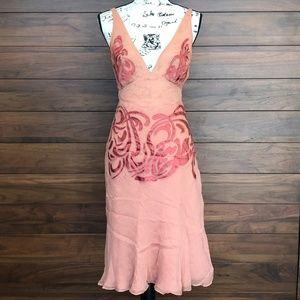 Pink Illusion Silk Satin V Neck Midi Dress